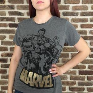 Marvel Avengers Group Grey T-shirt Comic Tee Sz M
